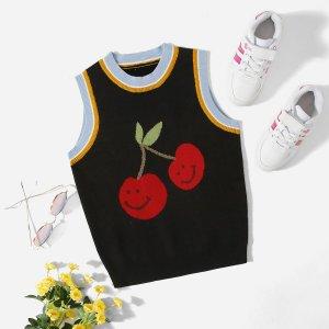 Для девочек Вязаный жилет с принтом фруктов SHEIN. Цвет: чёрный