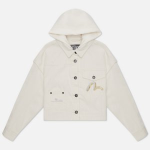 Женская джинсовая куртка Denim Glitched Monogram Hoodie Evisu. Цвет: белый