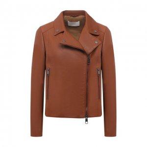 Кожаная куртка BOSS. Цвет: коричневый