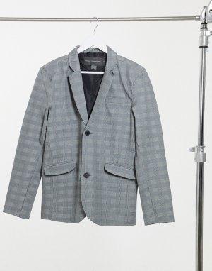 Приталенный строгий пиджак в клетку -Серый French Connection