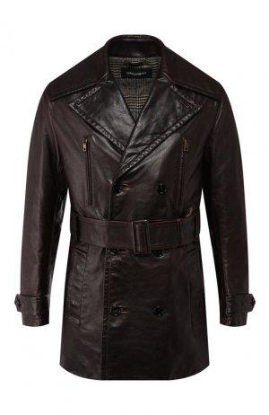 Кожаный тренч Dolce & Gabbana. Цвет: коричневый