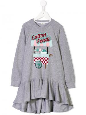Cotton Fendi sweatshirt dress Kids. Цвет: серый