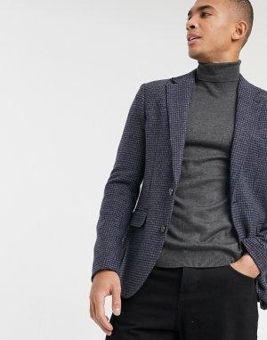 Узкий пиджак в мелкую «гусиную лапку» темно-синего и серого цвета -Темно-синий Gianni Feraud