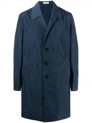 Однобортное пальто с заостренными лацканами Boglioli. Цвет: синий