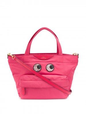 Маленькая сумка-тоут со змеиным принтом Anya Hindmarch. Цвет: розовый