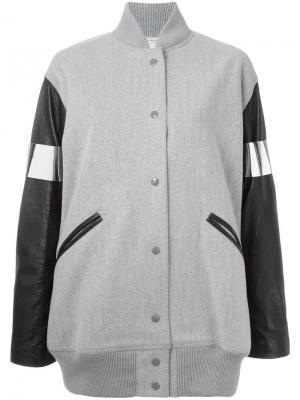 Объемная куртка-бомбер с кожаными рукавами Mm6 Maison Margiela. Цвет: серый