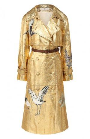 Кожаное пальто Golden Goose Deluxe Brand. Цвет: золотой