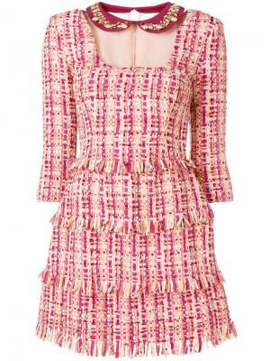 Твидовое платье с бахромой Elisabetta Franchi. Цвет: розовый