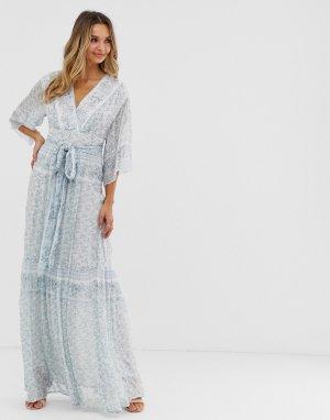 Платье макси с платочным принтом BA&SH. Цвет: белый