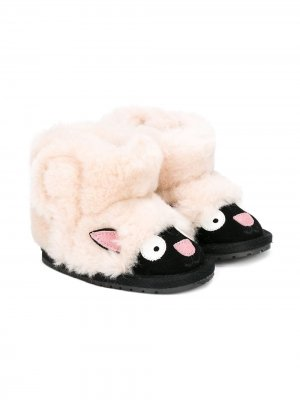 Ботинки с отделкой Emu Kids. Цвет: черный