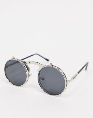 Круглые солнцезащитные очки с черными стеклами -Серебристый SVNX
