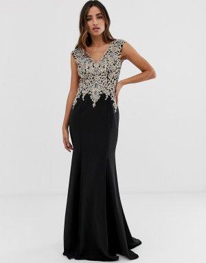 Платье макси с декорированным топом и облегающей юбкой -Черный Jovani