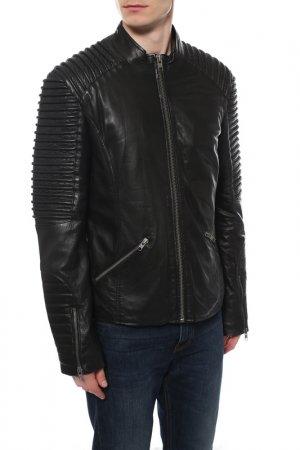 Кожаная куртка TIGHA. Цвет: черный