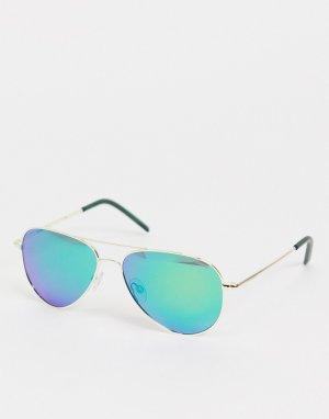 Солнцезащитные очки-авиаторы в стиле унисекс -Голубой Polaroid