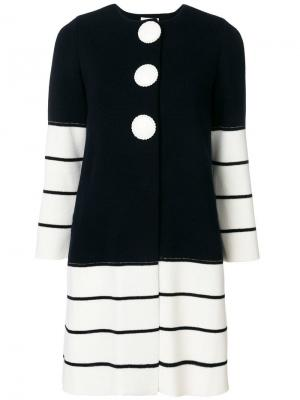 Трикотажное пальто с контрастными вставками в полоску Charlott. Цвет: синий