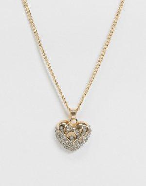 Ожерелье с сердечками -Золотой ASOS DESIGN