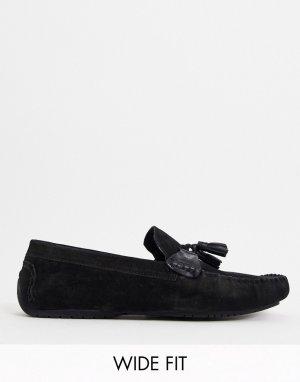 Черные замшевые лоферы для широкой стопы с кисточками wide fit-Черный Dune