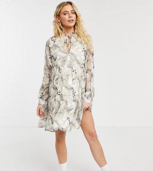 Платье миди с присборенной юбкой и акварельным принтом -Белый Missguided Maternity