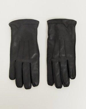 Классические кожаные перчатки -Черный French Connection