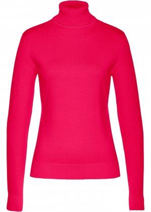 Пуловер с высоким воротником bonprix. Цвет: красный