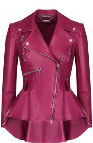 Приталенная кожаная куртка с удлиненной спинкой Alexander McQueen. Цвет: фиолетовый