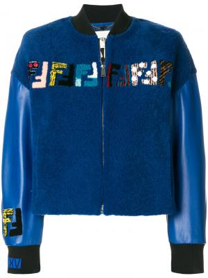Куртка-бомбер с логотипом Fendi. Цвет: синий