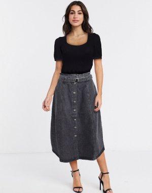 Серая джинсовая юбка миди с поясом -Серый Gestuz