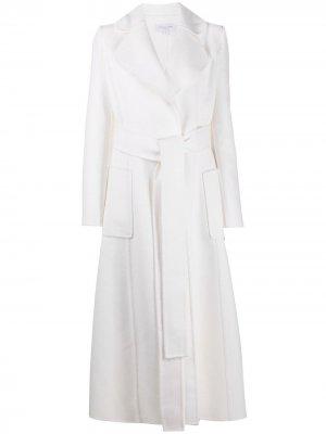 Тренч с накладными карманами и поясом Michael Kors. Цвет: белый