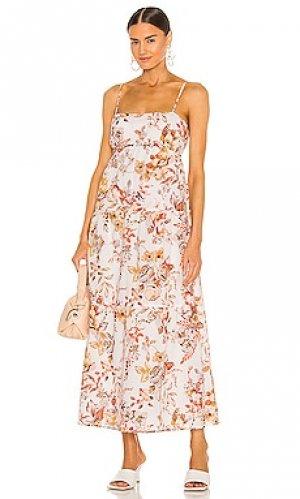 Платье миди floral Bardot. Цвет: cream,orange