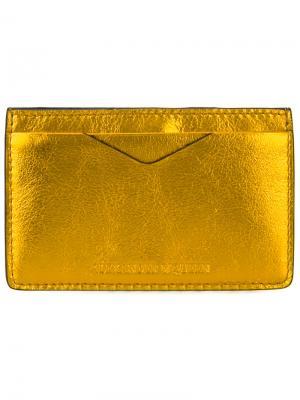 Классическая визитница Alexander McQueen. Цвет: жёлтый и оранжевый