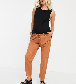 Рыжие широкие брюки со складками и посадкой под животом из ткани лен ASOS DESIGN Maternity-Оранжевый цвет Maternity