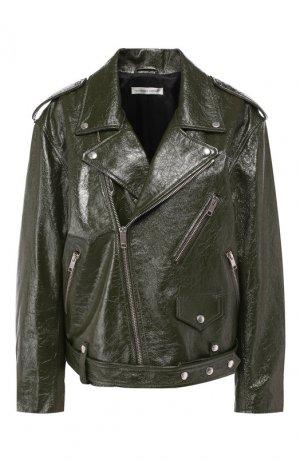 Кожаная куртка Alexander Terekhov. Цвет: зеленый