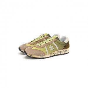 Комбинированные кроссовки lucy Premiata. Цвет: зелёный