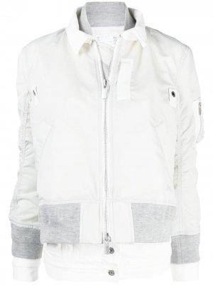 Многослойная куртка-бомбер Sacai. Цвет: серый