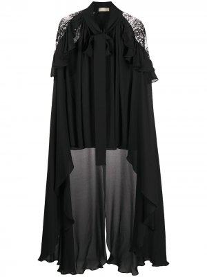 Блузка-кейп с асимметричным подолом Elie Saab. Цвет: черный