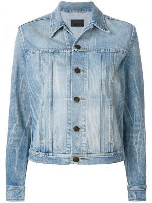 Джинсовая куртка с котом и мартини Saint Laurent. Цвет: синий