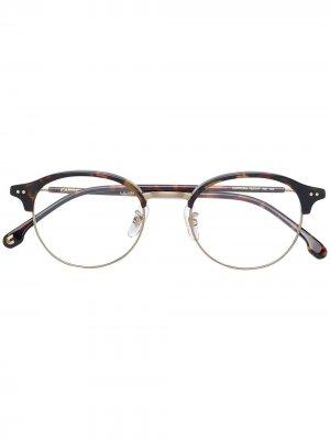 Tortoiseshell-effect round frame glasses Carrera. Цвет: коричневый