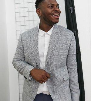 Однобортный приталенный пиджак серого цвета в клетку Big & Tall-Серый Topman
