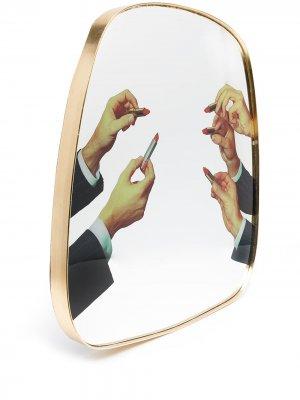 Зеркало с принтом из коллаборации Toiletpaper Seletti. Цвет: золотистый