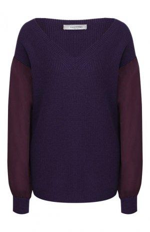 Пуловер из смеси шерсти и кашемира Valentino. Цвет: фиолетовый