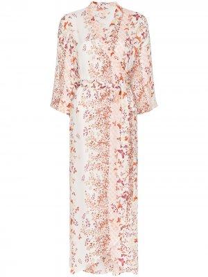 Платье с запахом и цветочным принтом byTiMo. Цвет: разноцветный
