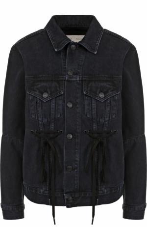 Джинсовая куртка со шнуровкой и потертостями Proenza Schouler. Цвет: черный