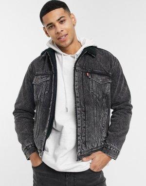 Джинсовая куртка черного цвета с эффектом кислотной стирки на подкладке из искусственного меха Levis Type 3-Черный цвет Levi's