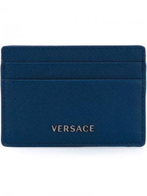 Классическая визитница Versace. Цвет: синий