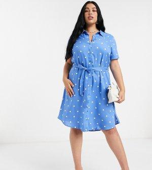Платье-рубашка в горошек -Синий Junarose