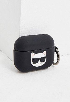 Чехол для наушников Karl Lagerfeld Airpods Pro, Choupette Silicone case with ring Black. Цвет: черный