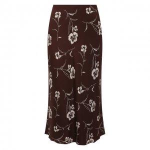 Шелковая юбка Ralph Lauren. Цвет: коричневый