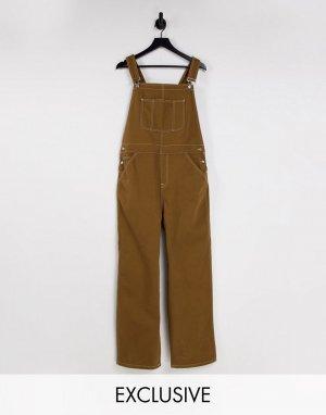Выбеленный джинсовый комбинезон цвета хаки Inspired-Зеленый цвет Reclaimed Vintage