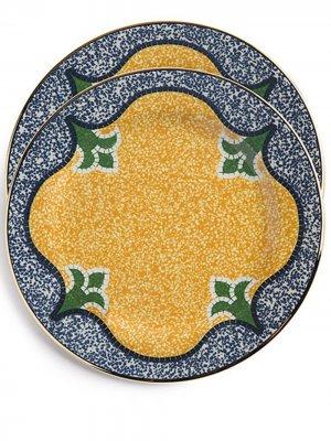 Набор из двух десертных тарелок La Doublej. Цвет: желтый