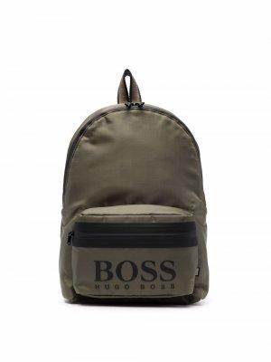 Logo-print backpack BOSS Kidswear. Цвет: зеленый